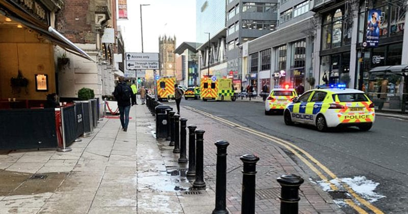 Section of Deansgate closed off by police after person hit by motorbike, The Manc