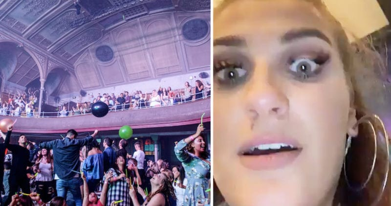 Girl rips her eyelashes out with double ended dildo at Bongo's Bingo, The Manc