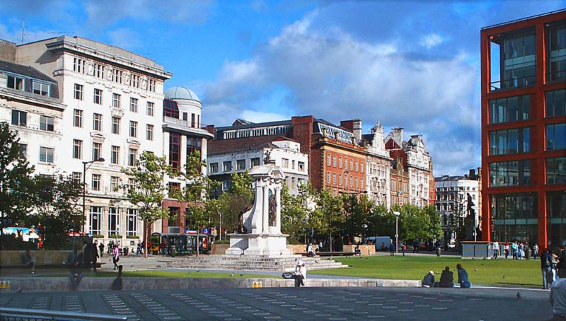 A protest against police brutality in Hong Kong is taking place in Piccadilly Gardens today, The Manc