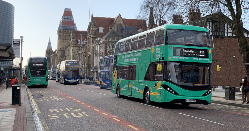 Multiple 100% electric buses have been spotted in Manchester today, The Manc