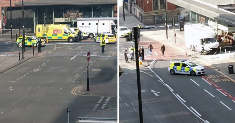 Prison van involved in road traffic collision in Manchester city centre, The Manc