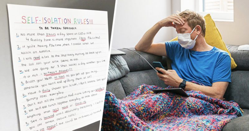 Boyfriend finds hilarious set of isolation rules by girlfriend on fridge, The Manc