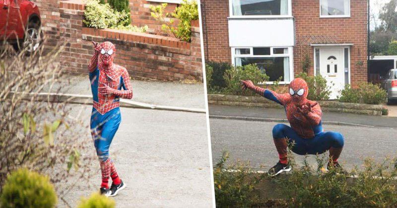 Someone dressed as Spider-Man is cheering up kids in isolation in Stockport, The Manc