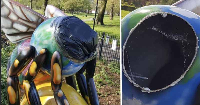 Someone has sawn a Manchester Bee's head off in a Longsight park, The Manc