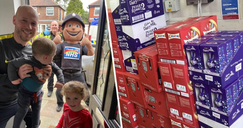 Trafford Police are giving easter eggs to families with rainbows in their windows, The Manc