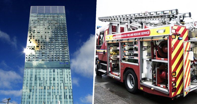 Fire crews were deployed to Beetham Tower last night after someone had a BBQ on their balcony, The Manc