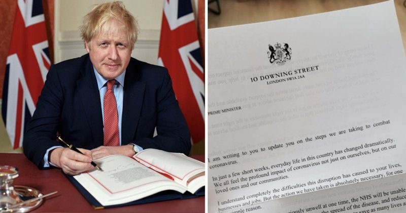 UK residents receive Boris Johnson's coronavirus letter while he lies in an ICU bed, The Manc