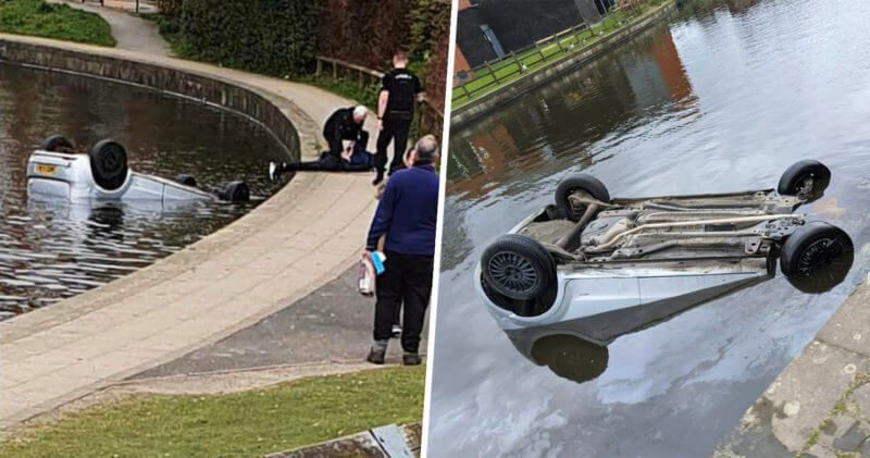 Man arrested after driving a car into Rochdale Canal by Failsworth Tesco, The Manc