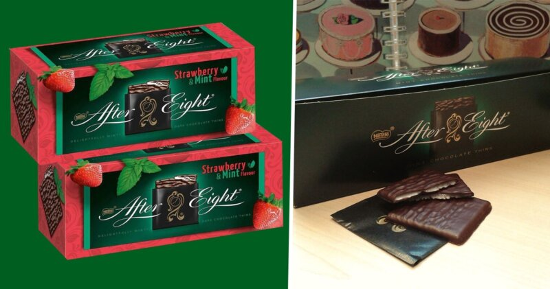 Strawberry & Mint After Eights have been spotted on shelves in the UK, The Manc