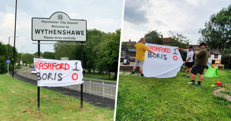 Someone has robbed the Rashford 1 – 0 Boris flag and its owner is raging, The Manc