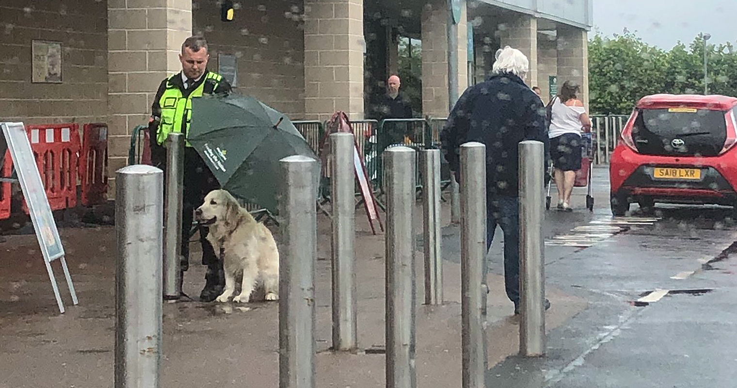 Morrisons security guard who kept dog dry during rainfall is a national hero, The Manc