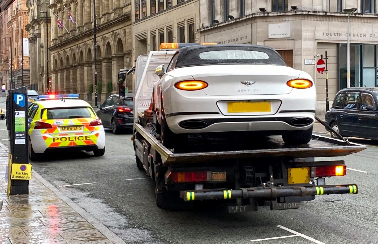 Uninsured Bentley owner parked outside bar and refused to give police his car keys, The Manc