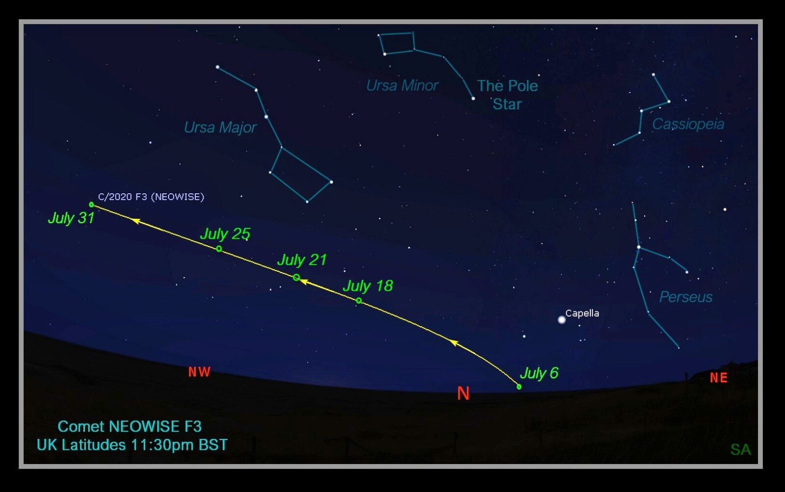 Comet Neowise will be visible in the night sky above the UK this month, The Manc
