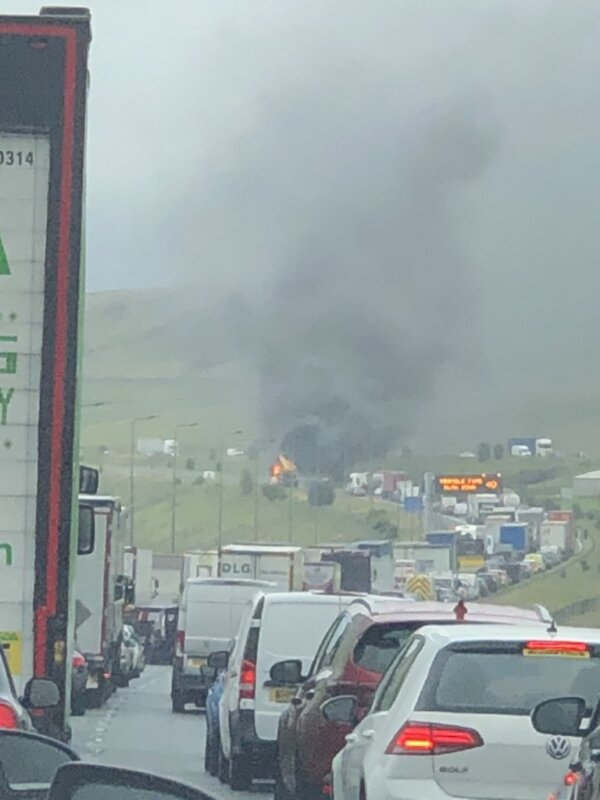 Dashcam footage shows moment a crane vehicle exploded on the M62, The Manc