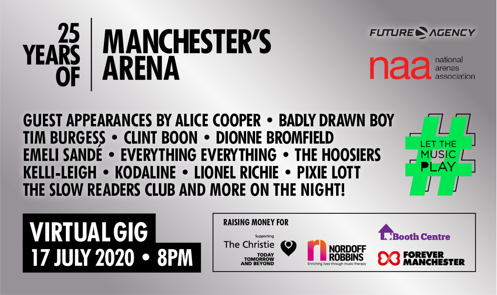 Manchester Arena announce 25th anniversary virtual gig starring Alice Cooper, Lionel Richie and Tim Burgess, The Manc
