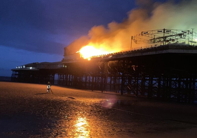 Firefighters tackle large blaze at Blackpool Central Pier in early hours, The Manc