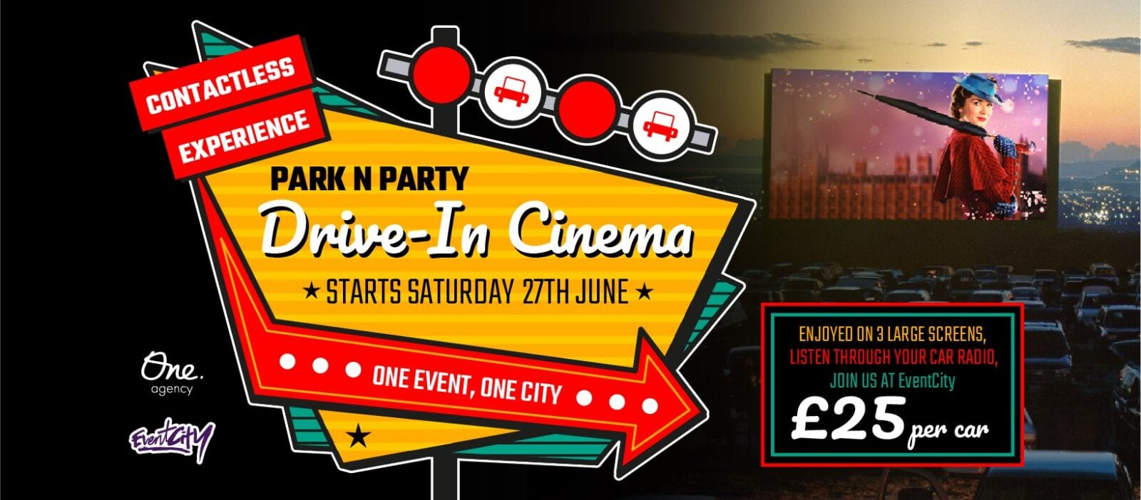 Park N Party's drive-in cinema is screening some classic movies during Bank Holiday weekend, The Manc