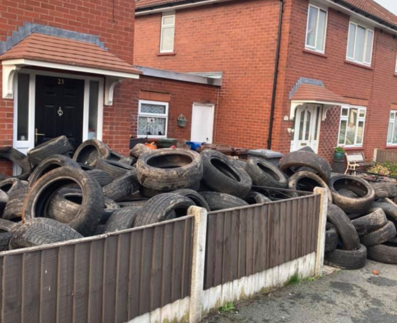 Ultimate payback goes viral on Facebook after man fly-tips tyres in Wigan, The Manc