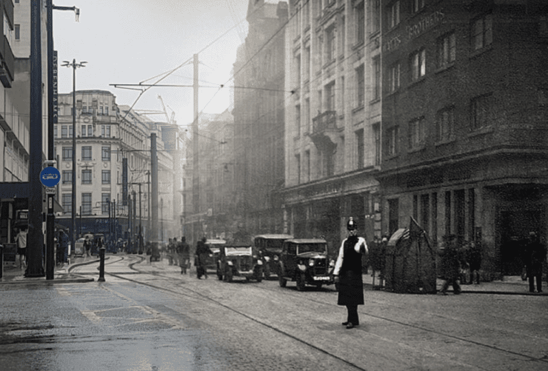 Artist's incredible before and after photos show Manchester travelling through time, The Manc