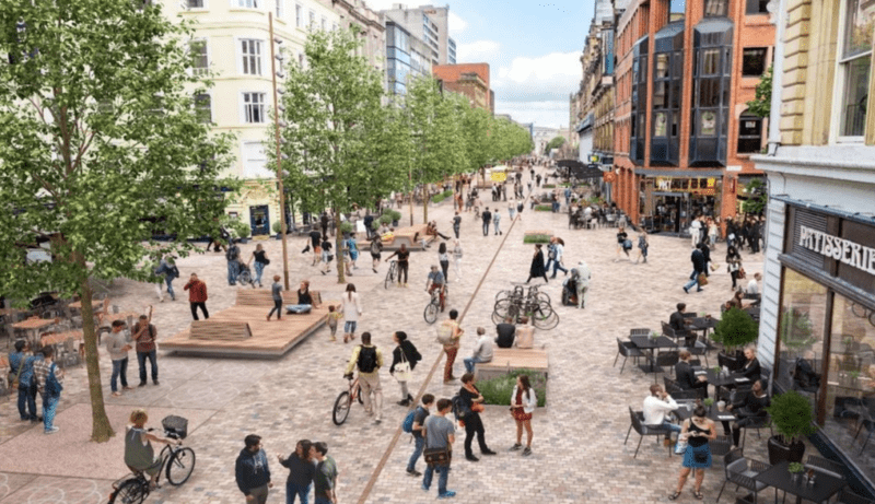 Artist impression image gives first look at potential future pedestrianised Deansgate, The Manc