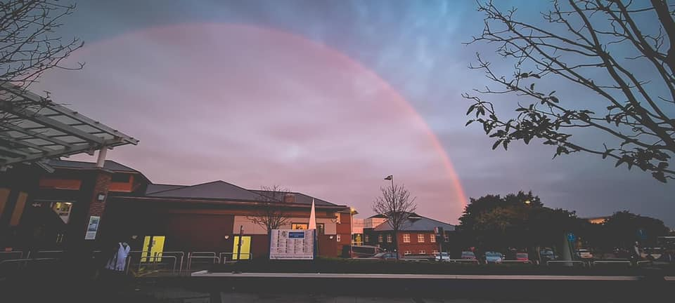 A breathtaking red rainbow appeared over Altrincham Golf Course yesterday, The Manc