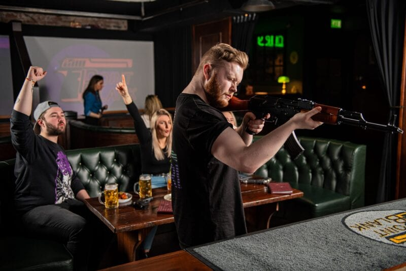Manchester's unique shooting simulator bar Point Blank is offering free sessions this week, The Manc