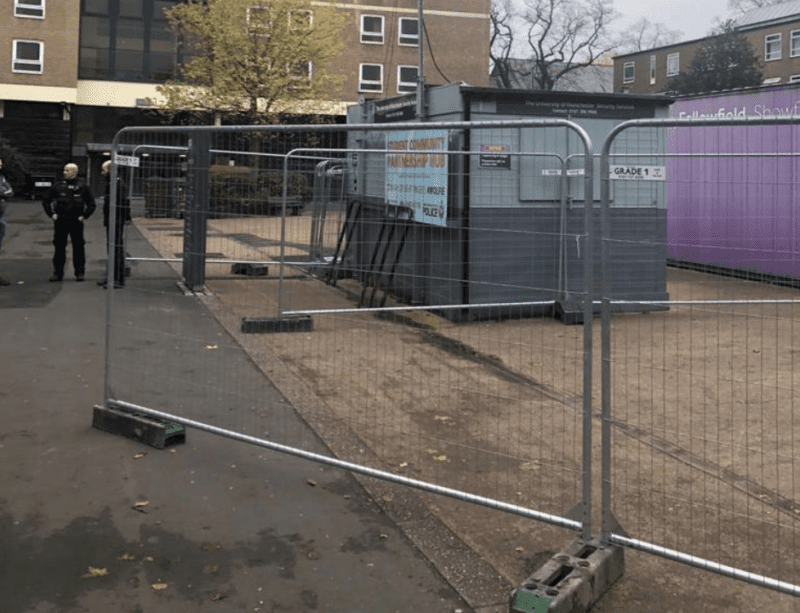 Students have just been 'fenced in' at University of Manchester halls in Fallowfield, The Manc