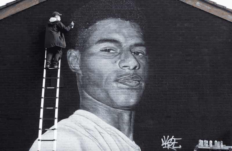 Marcus Rashford mural in Withington daubed with offensive graffiti, The Manc