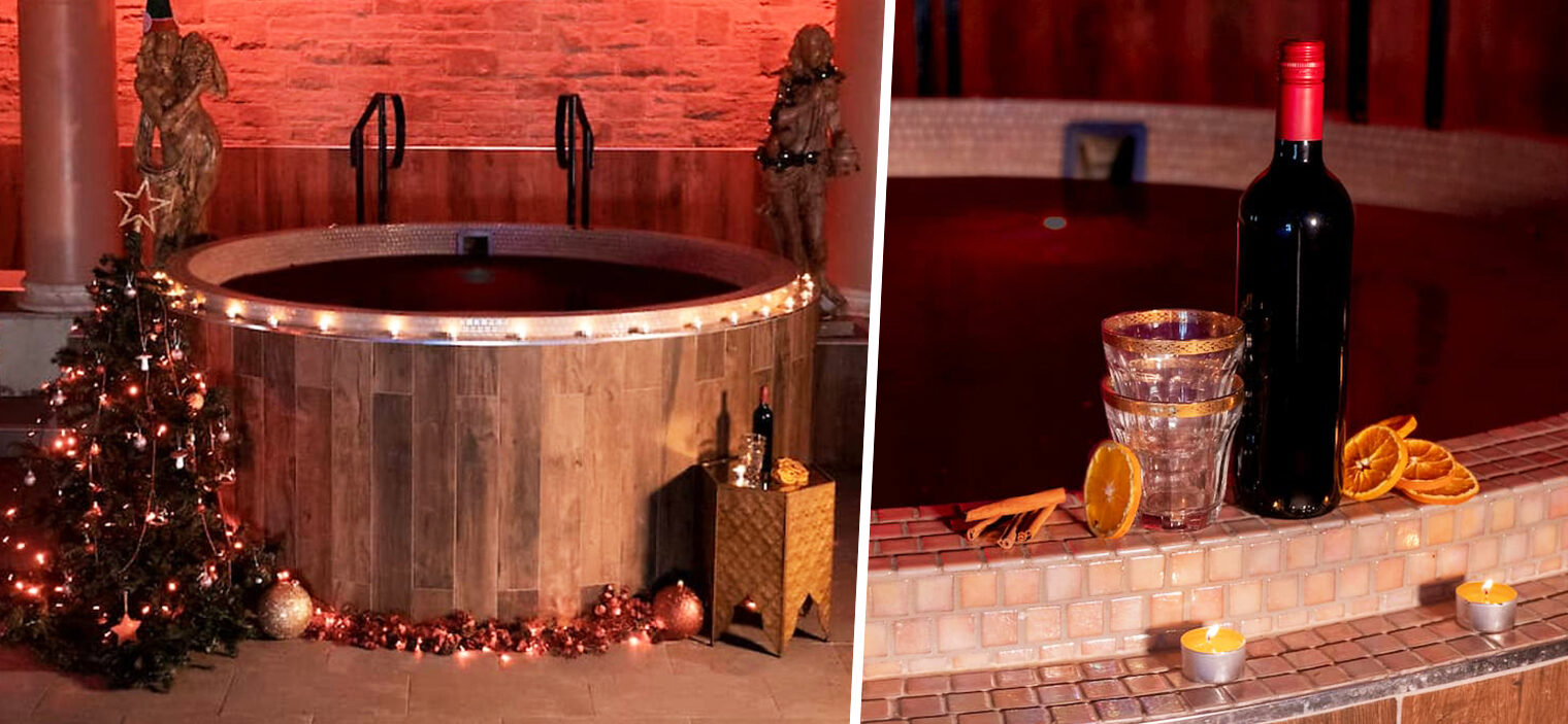 You can now bathe in a mulled wine hot tub at this new Christmas-themed spa in Cheshire, The Manc