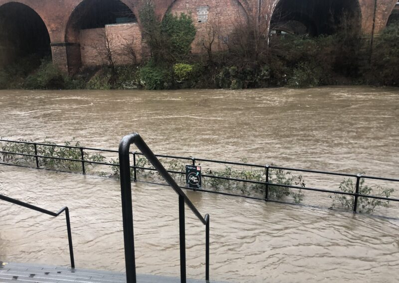 River Irwell breaks banks at Castlefield as Storm Christoph batters Greater Manchester, The Manc