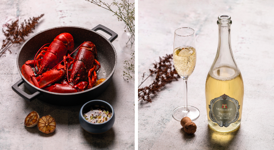 Lobster Inc's box with two whole lobsters and bottle of prosecco is perfect for Valentine's Day, The Manc