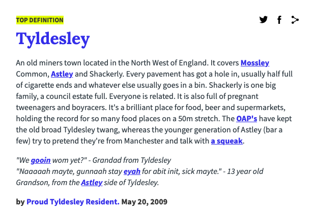 The Urban Dictionary definitions for places in Greater Manchester are hilarious, The Manc