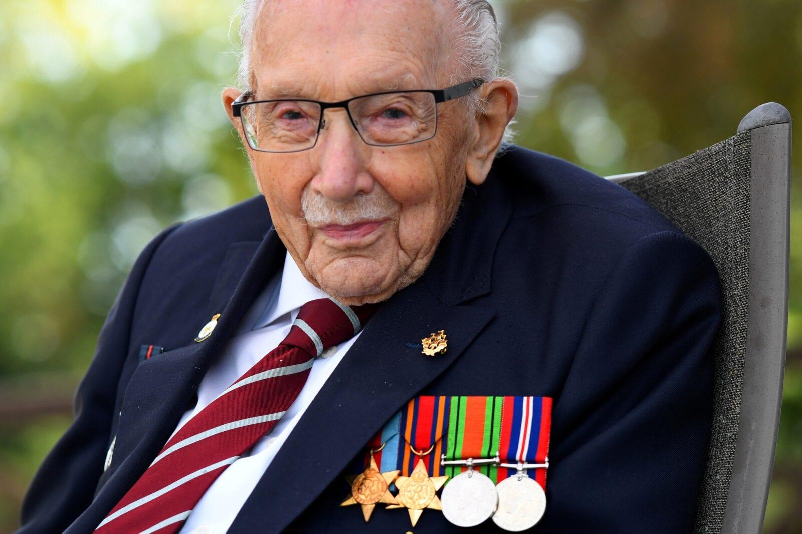 UK landmarks light up blue in memory of Captain Tom, The Manc