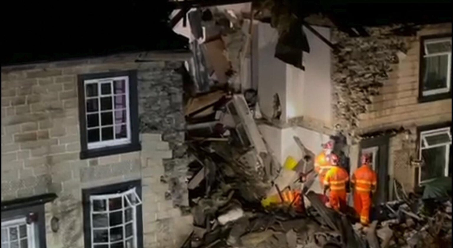 Emergency services attend scene after house collapses in Ramsbottom, The Manc
