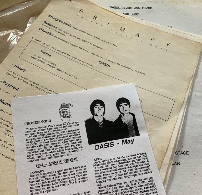 An extremely rare Oasis gig contract requesting 'sober-speaking' staff is going to auction, The Manc