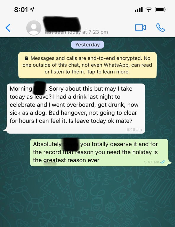 Man gets pay rise for hard work then calls in sick for celebrating too hard, The Manc