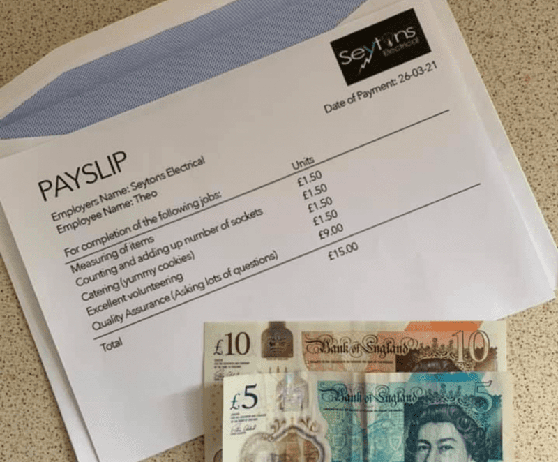 Mum praises electrician's payslip for her young son as the 'sweetest act of kindness', The Manc