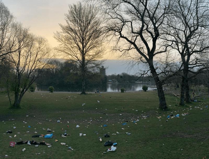 Platt Fields park left covered in litter after revellers enjoyed the sun yesterday, The Manc
