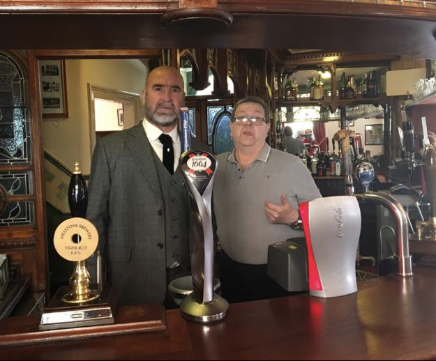 Eric Cantona pictured at Peveril of the Peak on reopening day, The Manc