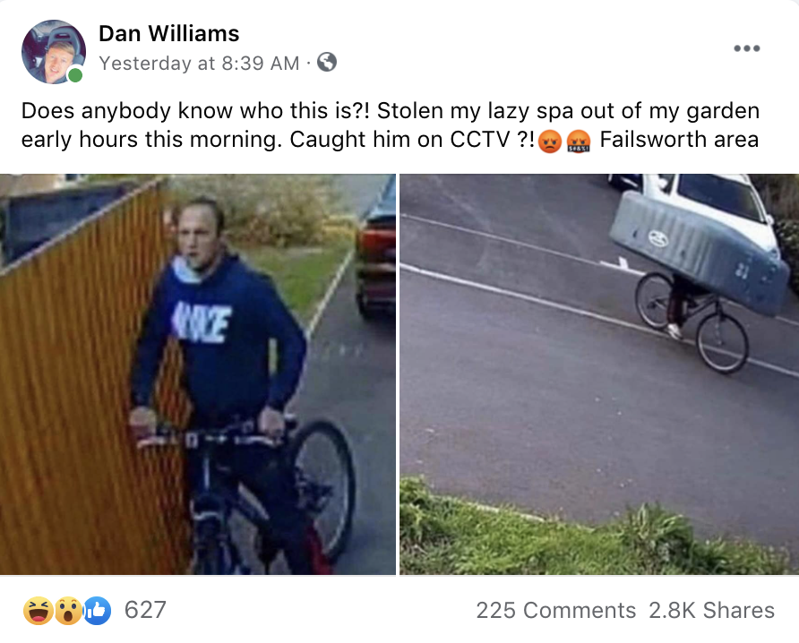 CCTV of man stealing a Lay-Z Spa in Failsworth goes viral, The Manc