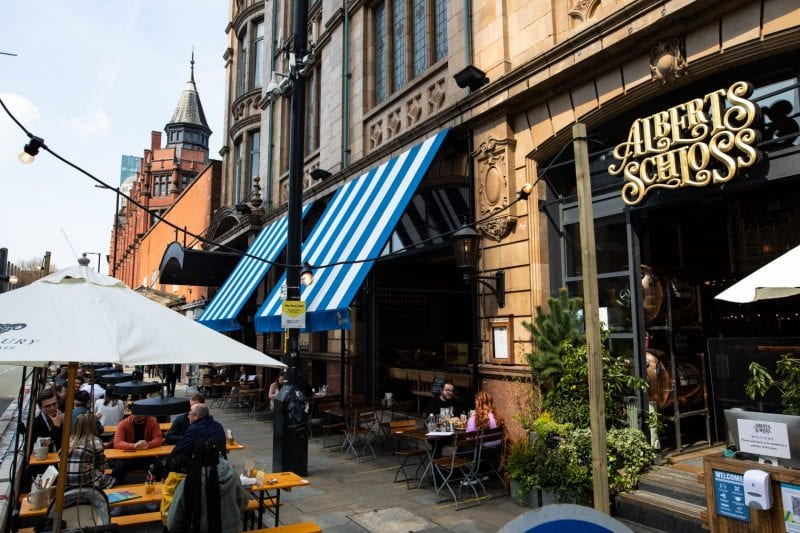 Albert's Schloss has opened a new Alpine-inspired outdoor 'drinking and dining' terrace in the street, The Manc