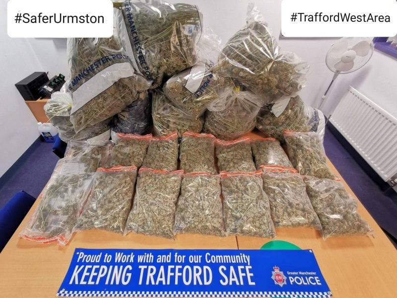 GMP has seized a 'large haul' of cannabis during a raid at a restaurant in Urmston, The Manc