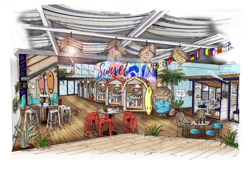 Ibiza-style Sunset Lounge with beach huts and live sport launches at Great Northern, The Manc