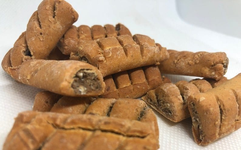 Someone's selling handcrafted Greggs 'sausage roll' dog biscuits on Etsy, The Manc