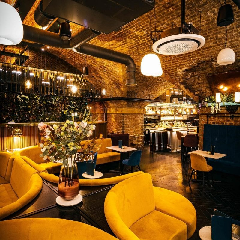The Manchester Gin bar under the arches selling chocolate-topped espresso martinis, The Manc