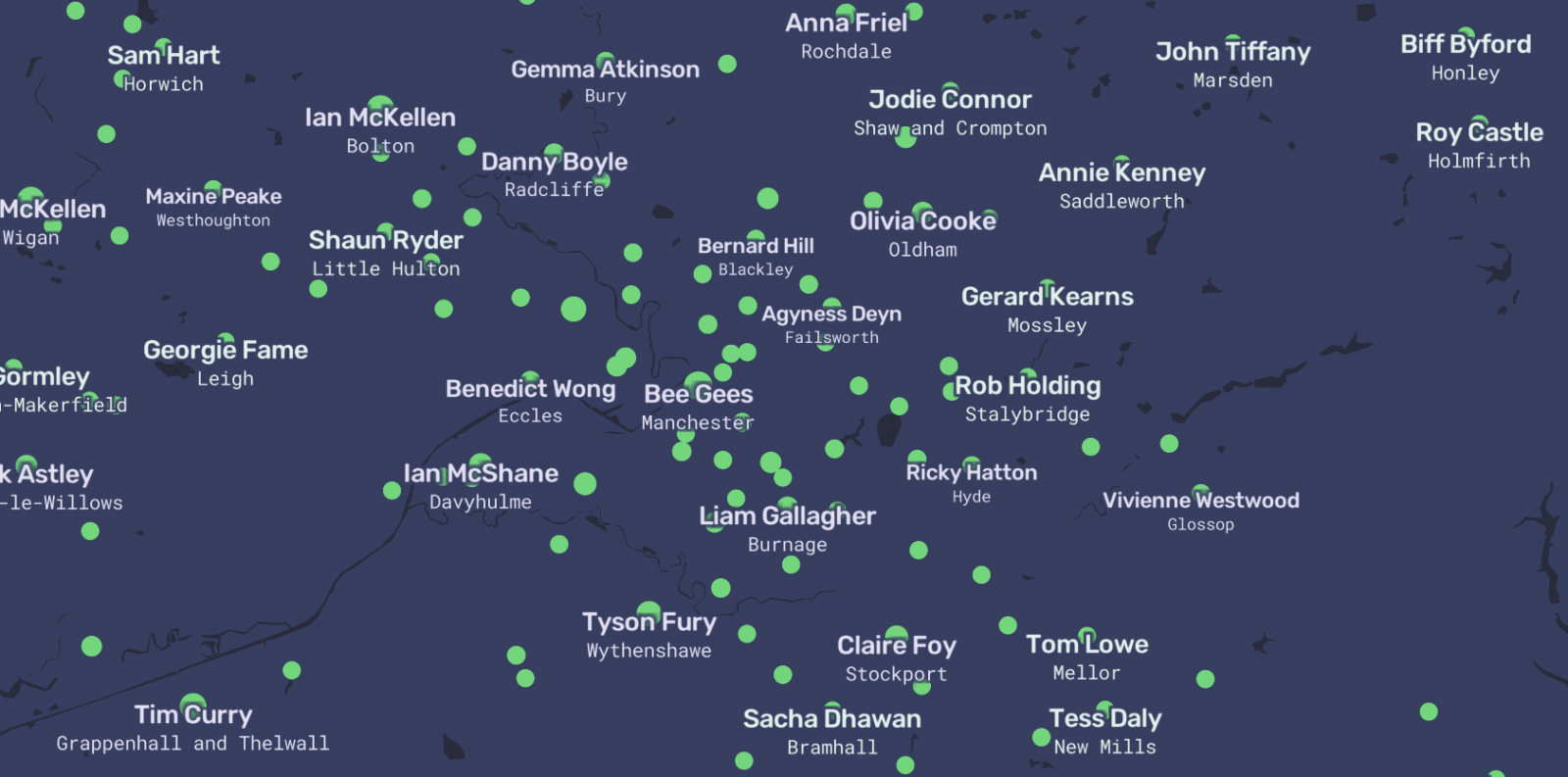 Map shows famous people linked to each Greater Manchester borough, The Manc