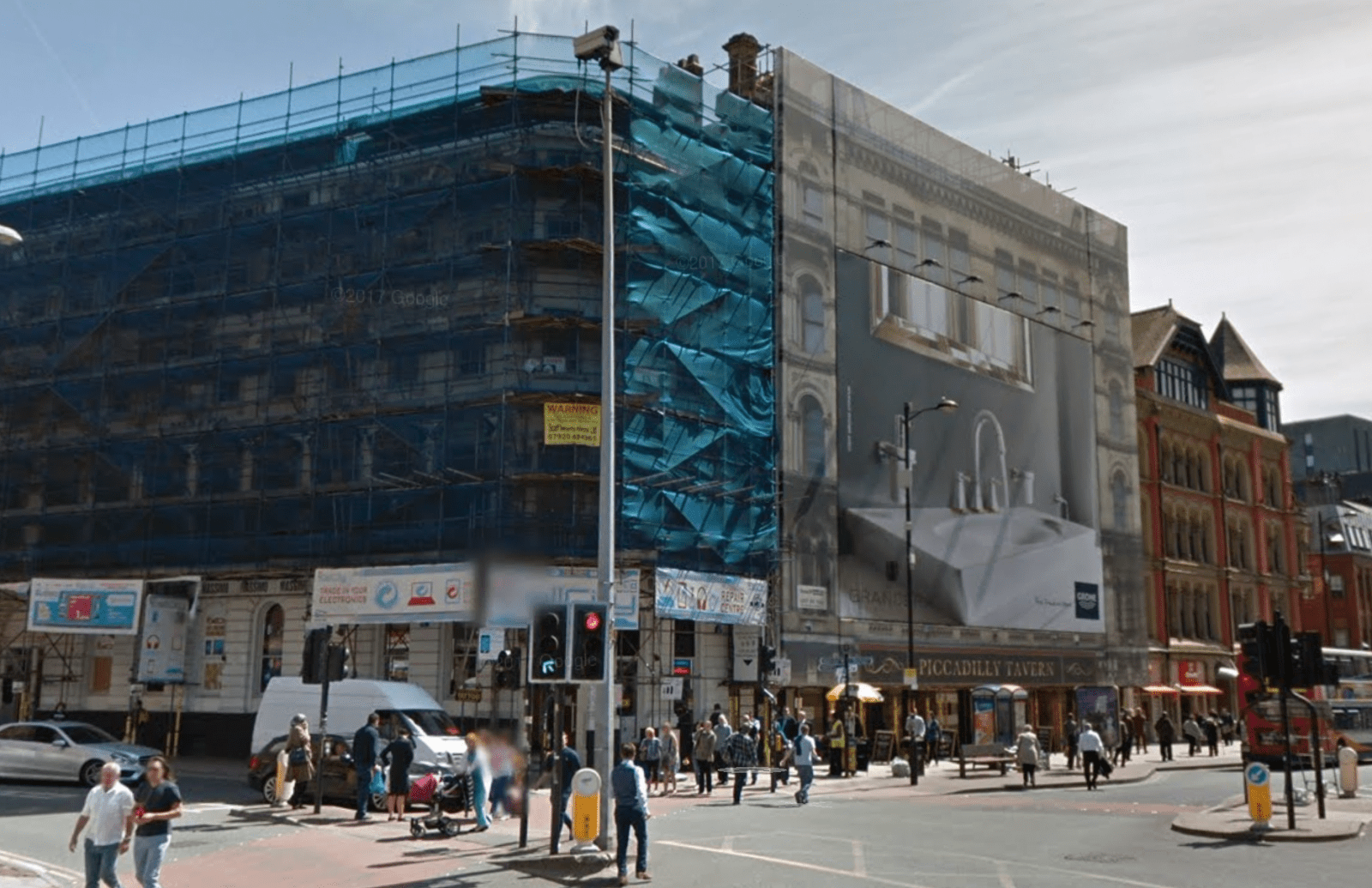 The scaffolding on Newton Street in Manchester city centre is 16 years old today, The Manc