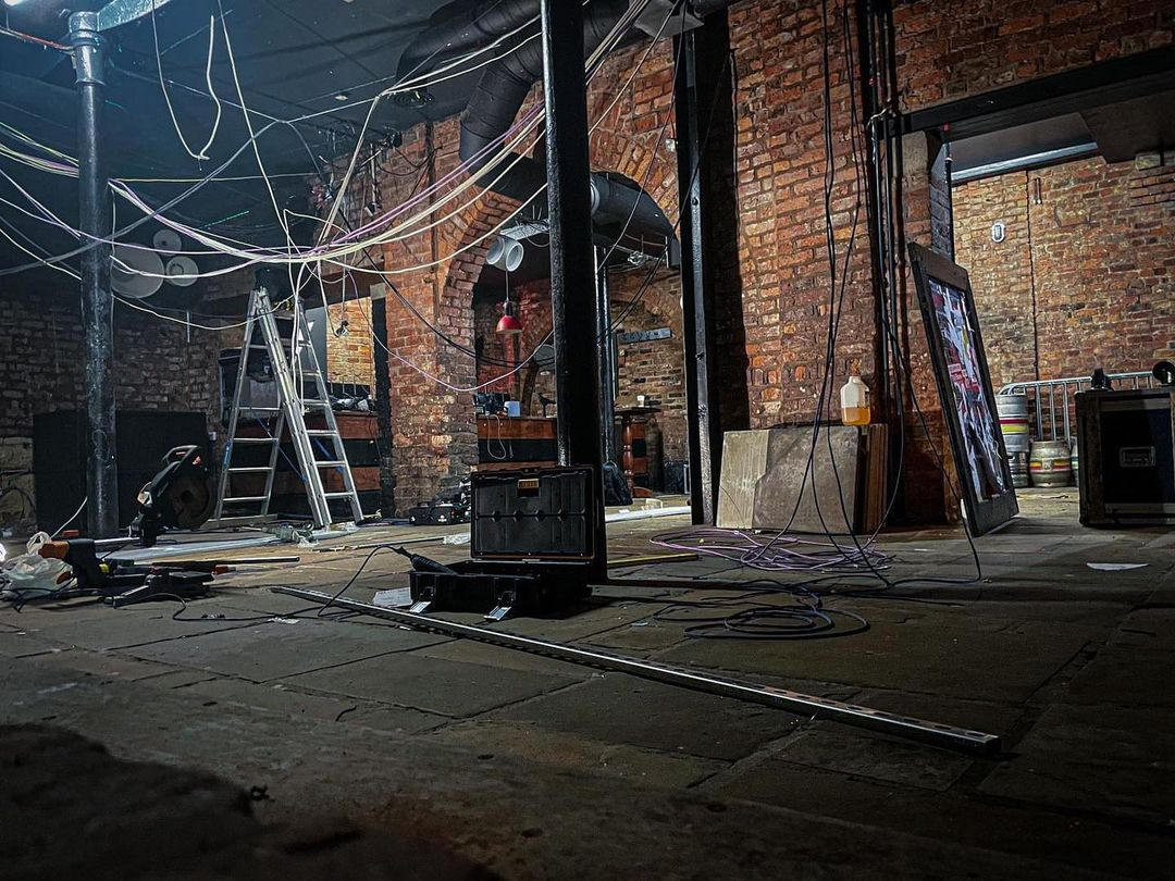 The Joshua Brooks basement has turned into a building site with equipment and wires strung from the ceiling getting ready for the refurb.