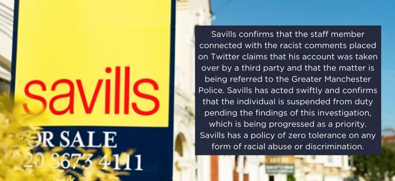 Savills employee caught up in racism scandal claims his Twitter was 'taken over by a third party', The Manc