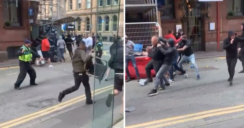 Huge brawl in Manchester city centre as United and Leeds fans clash, The Manc